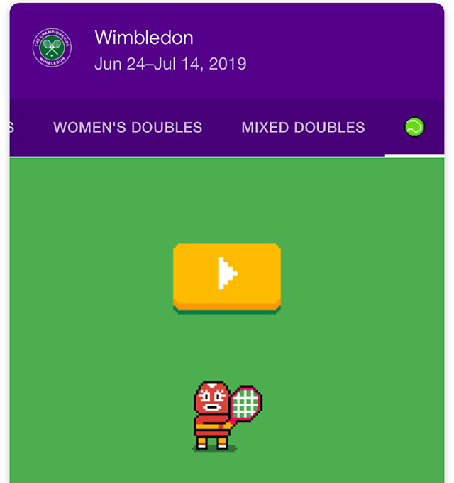 You can now play Tennis just by searching 'Wimbledon' on Google